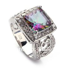 Rainbow and White Cubic Zirconia Silver Plated Rings R744 size 6 7 8 9 Rave reviews Promotion Best Sellers First class products