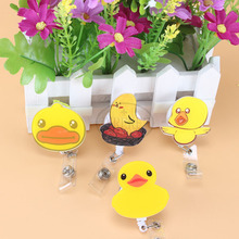The latest cartoon duck Badge Reel Pull Key ID Card Clip ID BUS Card Badge Holder With Metal Clip Easy to Use(China)