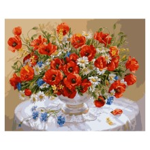 Digital Oil Painting By Number Red Flowers Unique Craft Gift Picture Wall Sticker By Hand Painted On Canvas szyh031