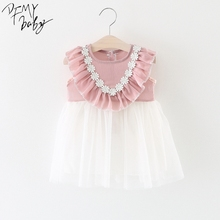 New Born Baby Dress Baby Flower Tutu Dresses Girls Baby Lace Sleeveless Baptism Dresses Kids Wedding Dress