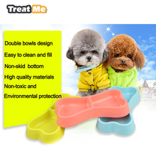 Dual Port Dog Food Dish Bowl for small dogs Poodle Puppy Pet Feeder Dog Bowl accesorios para perros dieren benodigheden hond(China)