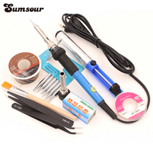 110V 220V 60W Adjustable Temperature Electric Soldering Iron Solder Station With 6pcs Iron Tip SMD Welding Repair Tool Kit