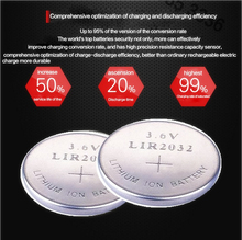 High quality NEW 6PCSX LIR2032 3.6V pkcell button cell battery LIR2032 rechargeable battery can replace the CR2032 battery