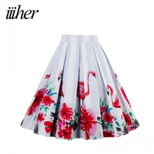iiiher Vintage Women Print Floral Pleated Skirt Elegant Women Office Party Midi Ball Gown Summer Womens 50s 60s Rockabilly Skits
