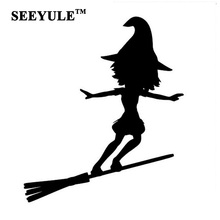 1pc SEEYULE Fashion Car Sticker Sexy Witch Lady Girl Surfing Broom Reflective Vinyl Decal Silver Black for VW Golf Passat Beetle(China)