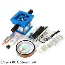 Free shipping 90*90 BGA rework fixtures with 10pcs Universal Reballing Bga Stencil kit+Accessories for Laptop Game console