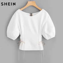 Buy SHEIN Lace Side O-Ring Back Bishop Sleeve Top Summer Women Sexy Blouse White Half Sleeve Elegant Blouses Women for $18.97 in AliExpress store