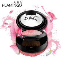 FLAMINGO Beauty Face Makeup Rouge with Brush Mirror Cheek Color Silky Felt Blusher 3 colors Baked Blush Blusher(China)