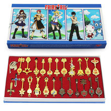 Fairy Tail Lucy 26pcs/set Cosplay Figure Key Keychain Scale & Free Pink Tattoo Heartfilia sign of the zodiac gold Key Doll(China)