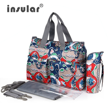 Hot Sale Elegant Print Mommy Bag Urban Series Fashion Multifunctional Baby Diaper Bag Changing Bag Waterproof Nappy Bag