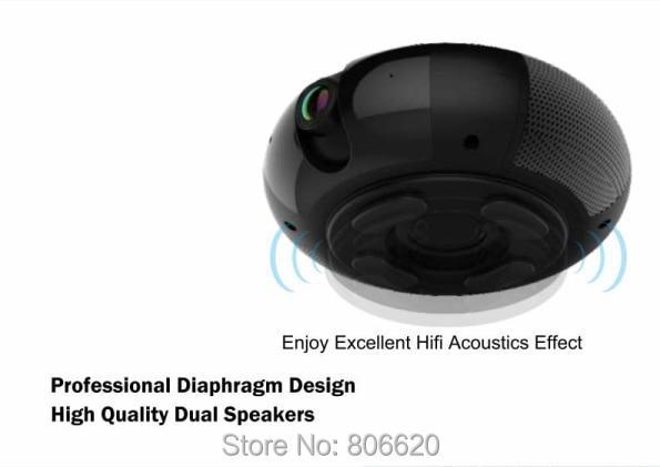 Panoramic 180 Degree 1080P HD Wifi IP Camera Built-in 5W Hifi System Bluetooth Speaker Internet Music byFree App Remote Control_F3