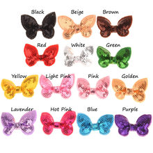 14PCS Sequin Bows Embroidery sequins bowknot Small Bows Newborn Hair Accessories No Hairclip(China)