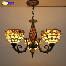 FUMAT Stained Glass 3 Lights Pendant Lamp Antique Glass Suspension Lights Sun Flower Baroque Restaurant Kitchen Hotel Lights(China)