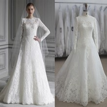 Elegant Long Sleeve Wedding Dress Muslim Dress 2017 Simple White Vintage Lace Bridal Gowns High Neck Vestido De Noiva Princesa