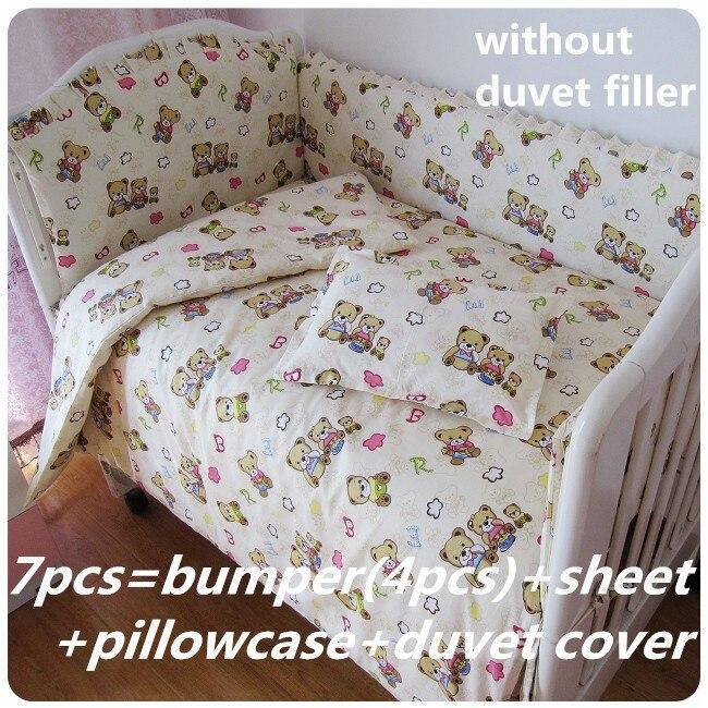 Promotion! 6/7PCS Bear baby bedding set baby boy crib bedding sets Cot Crib Bedding Set cuna, duvet cover,120*60/120*70cm<br><br>Aliexpress