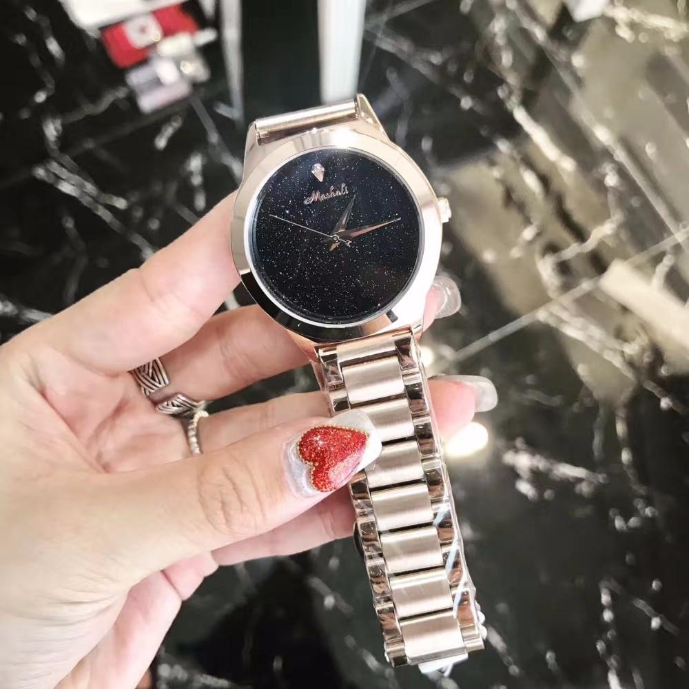 New MASHALI Simple Fashion Women Neutral Watches Sparkly Kyanite Dial Ladies Watches Steel Relojes Religios Montre femme W150<br>