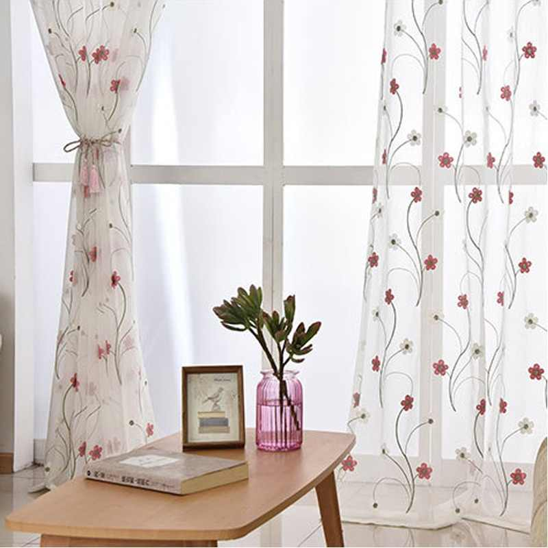 White Blue Flowers Embroidery Sheer Tulle Curtains For Living Room Window Voile Curtains Fabric Drapes Bedroom Sheer Cortinas