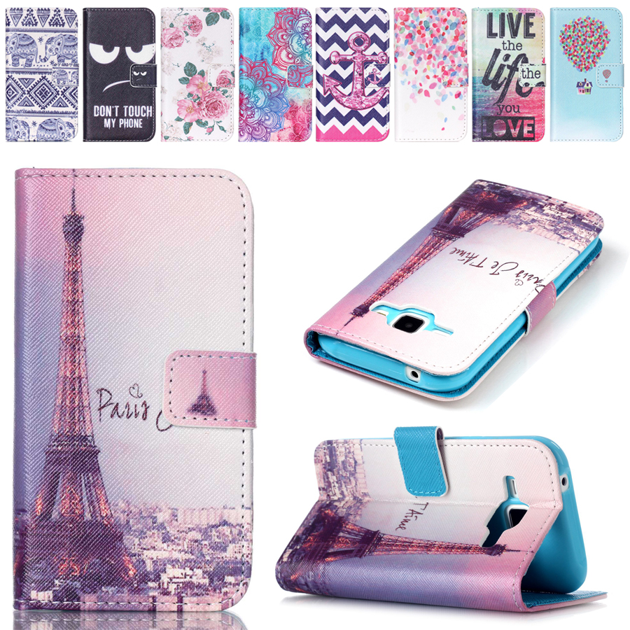 Fashion Painting Paris je t aime pattern Card Clip Flip Wallet Silicon Back Cover phone Shell For Samsung Galaxy J1 case(China (Mainland))