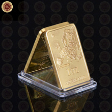 2015 New Products 1 OZ 999.9 Fine Gold Plated Bullion Bars/Coins Challenge Pure Gold Bars With Acrylic Box For Promotion