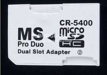 Dual Slot Tf Micro Sd Sdhc Sdxc Memory Card to Ms Pro Duo Stick Adapter Converter for Sony PSP Camera Mobile Phone