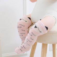 Newborn Toddler knee high sock Baby Girl Boy Socks anti slip Cute Cartoon Cat Fox leg warmers For newborns infant Warm Long Sock(China)