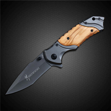 PEGASI Browning Tactical Folding Pocket Knife 440C Stainless Steel Olive Wood Handle Outdoor EDC Knives