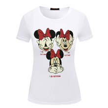 CDJLFH brand Euramerican style o neck T-shirt Women Summer Casual Lady Top T Shirt Cartoon white Printed Cute Tee(China)