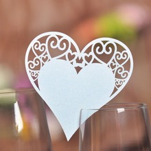 50x  Paper Laser Cut Heart Table Place Escort Card Wine Glass Cards Cup Card Wedding Baby Shower Christmas Party Decorations