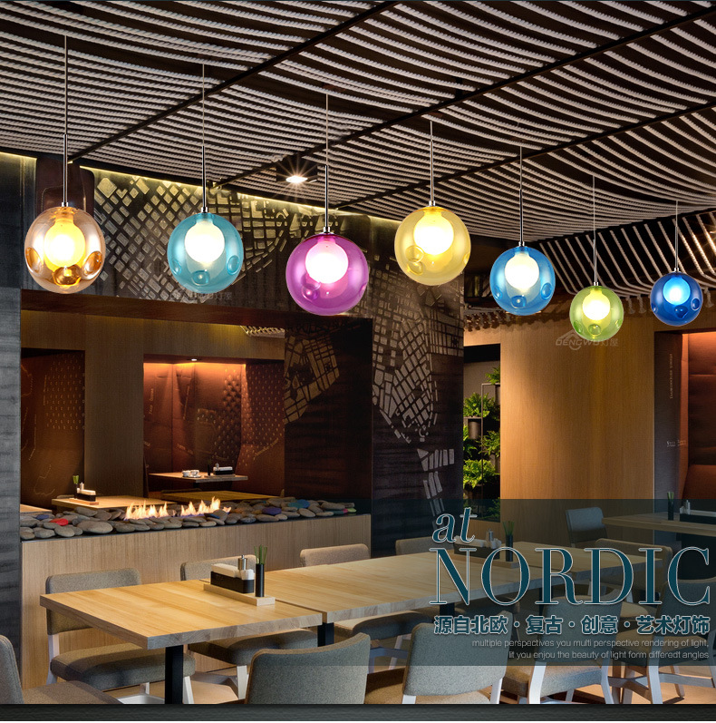A1 Lamp house creative personality Nordic restaurant chandelier cafe childrens room color glass bubble chandelier simple modern<br>