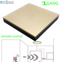 Vhome Smart Home 433MHZ Golden Glass panel Switch  shape remote control +EU Wall Light Touch Switch, Home Automation Accessories