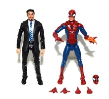 Marvel Legends Iron Man Tony Stark in Coulson Black Suit Pizza Spiderman Figure TOY FREE SHIPPING
