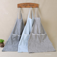 Cotton&Linen Lace Pocket Sleeveless Apron  Work Apron  Cleaning Work Clothes   Beige/bLlue/Coffee/Grey