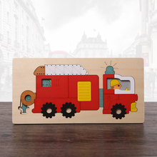 New Arrival Multilayer Jigsaw Puzzle Wooden Toys Early Educational Story Cartoon Fire Truck/School Bus 3D Puzzle Child Gift(China)