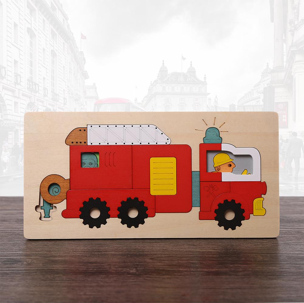 New Arrival Multilayer Jigsaw Puzzle Wooden Toys Early Educational Story Cartoon Fire Truck/School Bus 3D Puzzle Child Gift(China (Mainland))