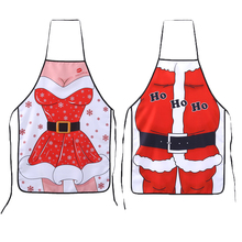 Christmas Aprons Adult Santa Claus Aprons Kitchen Cleaning Tool Women and Men Dinner Party Apron Kitchen Gadgets Drop shipping(China)