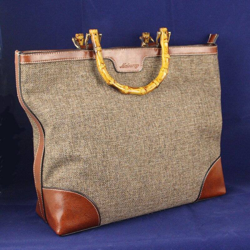 IVI Genuine Leather Brand Designer Luxury Women Handbag Bamboo Handle Ladies Large Tote Bag Linen Fabric Bolsas Cowhide<br><br>Aliexpress