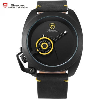 Tawny shark fecha display reloj deportivo de lujo amarillo único simple corona izquierda-guardia hombres correa de cuero reloj de la manera/sh449