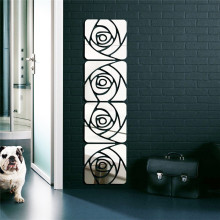 1set DIY decor Mirror wall sticker geometric rose flower sticker poster removable Acrylic material living room decal accessory(China)