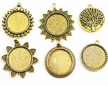 New Fashion 3pcs 25mm Inner Size Antique Gold Colors Plated 5 Fashion Style Cabochon Base Setting Charms Pendant(China)