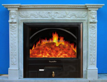 luxurious European style fireplace set W120cm marble mantel plus electric fireplace insert artificial flame decoration