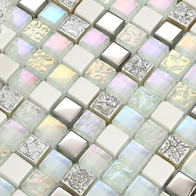 mini square shining clear stain glass mixed white stone for kitchen backsplash tile bathroom shower mosaic tiles hallway border(China)