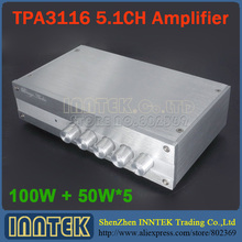 Finished TPA3116 5.1 6-CH 100W + 50W*5 Power Amplifier multichannel amplifier subwoofer independent tone adjust, free shipping