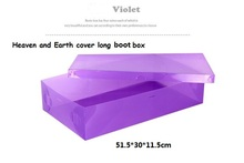 3pc/lot women's Stackable Plastic Storage Heaven and Earth Long Boot Box Ladies Foldable Clear Handhold Storage Shoe Box 51.5*30(China)