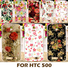 Good Selling Printed Beautiful Rose Peony Flower Phone Cases Covers For HTC Desire 500 506e 5088 Case Cover Shell Coque Capa