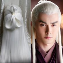 white vintage long hair for men ancient chinese hair ancient man cosplay halloween warrior hair chinese ancient dynasty hair(China)