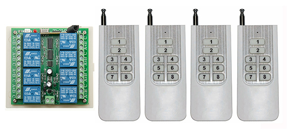 DC12V 8CH 10A RF wireless remote control switch System Transmitter+ Receiver light /lamp/ window/Garage Doors<br>