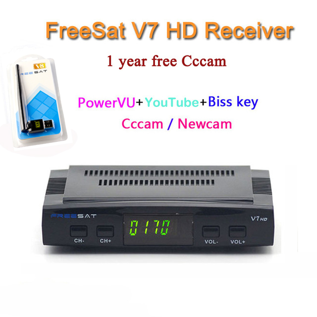 DVB-S2 Freesat V7 Receptor satellite Decoder+USB WIFI with cccam cline for 1 year HD 1080p BISS Key Powervu satellite receiver(China)