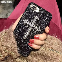 Luxury Shining Diamond Glitter Phone Case for IPhone 6 6S 6plus 7 7plus Cross Crystal Bling Hard Plastic Back Cover Cases