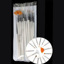 New Professional 15pcs/Lot Nail Brush Drawing Paint Brush Finger Brush Set Of Tools Nail Art Drill Point Pen Light Crystal Pen(China)