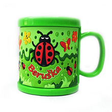 New Arrival Plastic Elegant Milk Mugs Kids Cups Green Embossed Insects Water Tumbler Cute Mugs With Lids Drinkware Gifts Cups